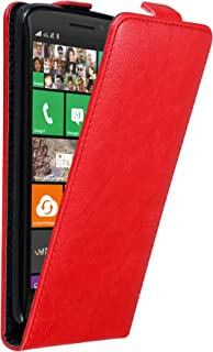 Cadorabo Case Works with Nokia Lumia 930 in Apple RED – Flip Style Case with Invisible Magnetic Closure – Wallet Etui Cove...