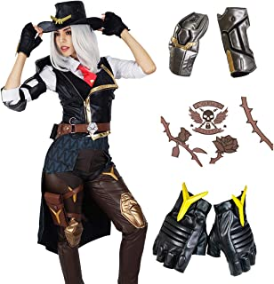 Overwatch Ashe Cosplay Costume, Officially Licensed, Elizabeth Caledonia Halloween Game Anime Outfit for Women