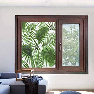 Decorative Privacy Window Film Frosted Window Film Stained Glass Window Film Window Clings No-Glue Self Static Cling for Office,23.6 W x 35.4 L inches,Palm Leaf,Realistic Vivid Leaves of Palm Tree Gro