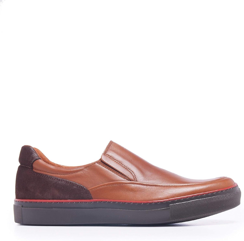 Castellanisimos Zapato Casual en Piel con Elásticos Cuero Hombre