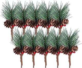 LEDMOMO 松かさ オーナメント クリスマス 人工 ベリー クリスマス飾り ツリー装飾 室内 ホーム ウェディング デコレーション 店舗装飾用 16pcs