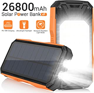 $43 » AMZGO Solar Charger 26800mAh, Portable Solar Power Bank USB C PD 18W Fast Charger with Ultra Bright 2 Flashlights and 60 LEDs Panel Light, External Battery Pack for Camping Outdoor