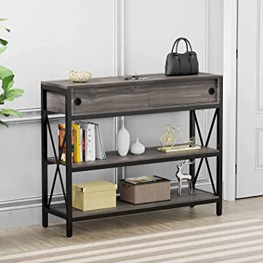 Console Table with Slip Drawers, LGHM Hallway Table for Entryway, Narrow Long Sofa Table Entryway Table with 3 Tier Storage S