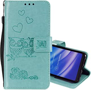 """EnjoyCase Wallet Case for iPhone 8 Plus 5.5"""",Cut Funny Embossed Flower Owl Premium PU Leather Wrist Strap Magnetic Closure Bookstyle Protective Flip Cover for iPhone 8 Plus/7 Plus 5.5"""""""