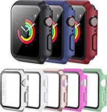 PLWENST 8 Pack Screen Protector Case Compatible with Apple Watch 42mm Series 3/2/1, Full Hard PC Ultra-Thin Scratch Resist...