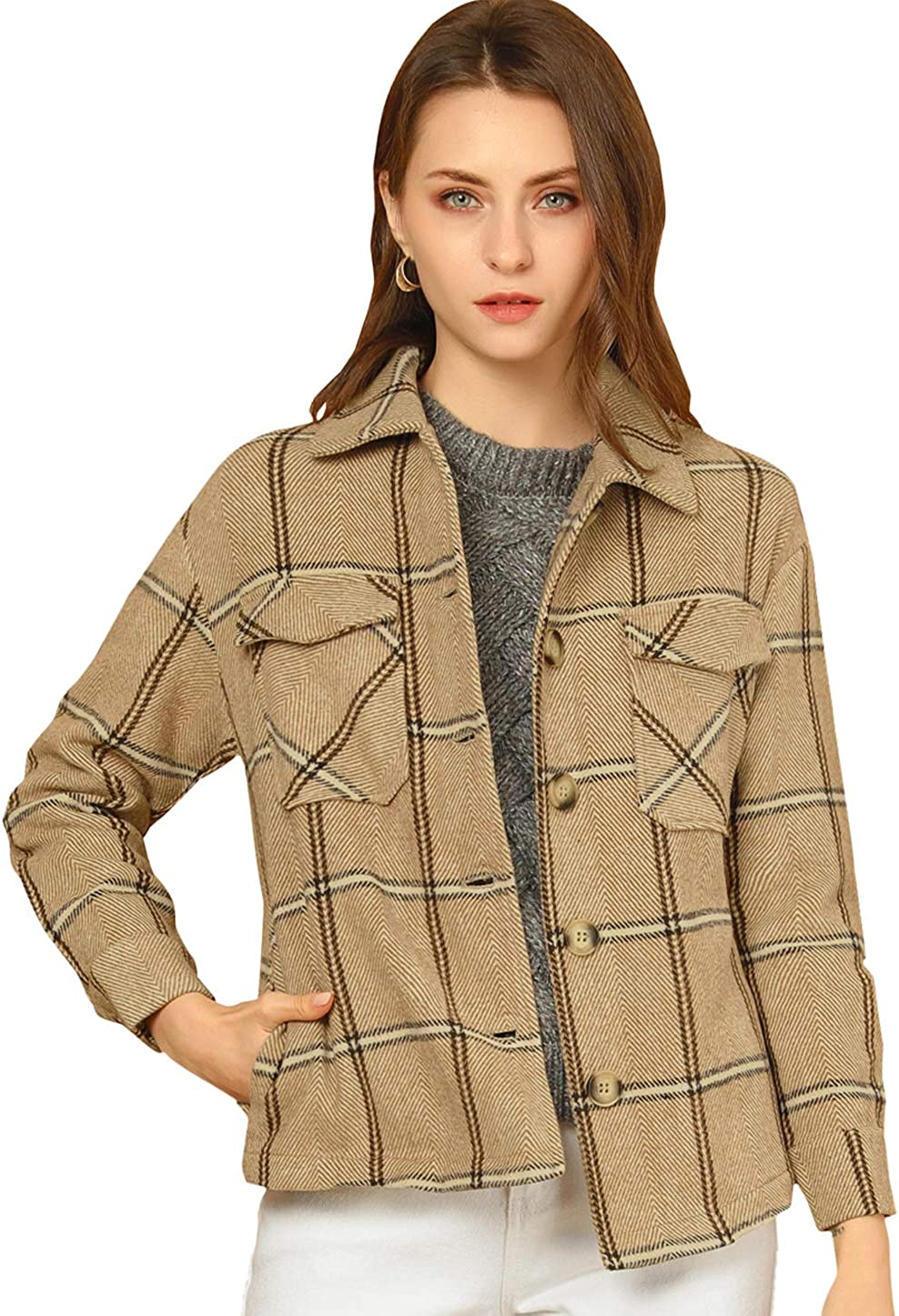 Allegra K Women's Button Down Single supreme Collar Coat Large special price !! Outerw Breasted