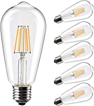 Best Vintage LED Edison Bulb 6W Equivalent 60W Soft White 2700K, Non dimmable Led Filament Light Bulb, E26 Base, Eye Protection led Bulb,Pack of 6 Review