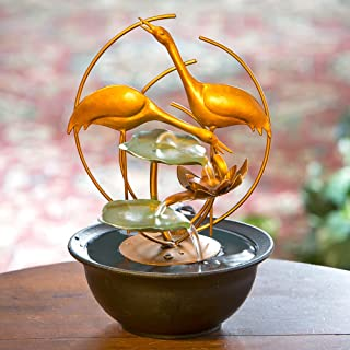 Bits and Pieces - Indoor Cranes and Water Lilies Fountain - Zen Tabletop Water Fountain