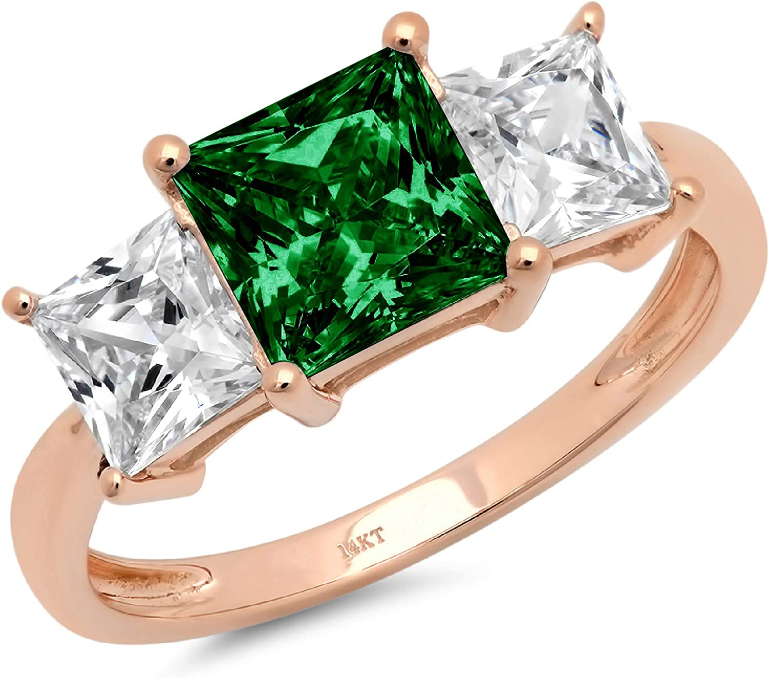 2.94ct Brilliant Princess Cut 3 Stone Solitaire with Accent Flawless Ideal VVS1 Simulated CZ Green Emerald Engagement Promise Statement Anniversary Bridal Wedding Designer Ring 14k Rose Gold