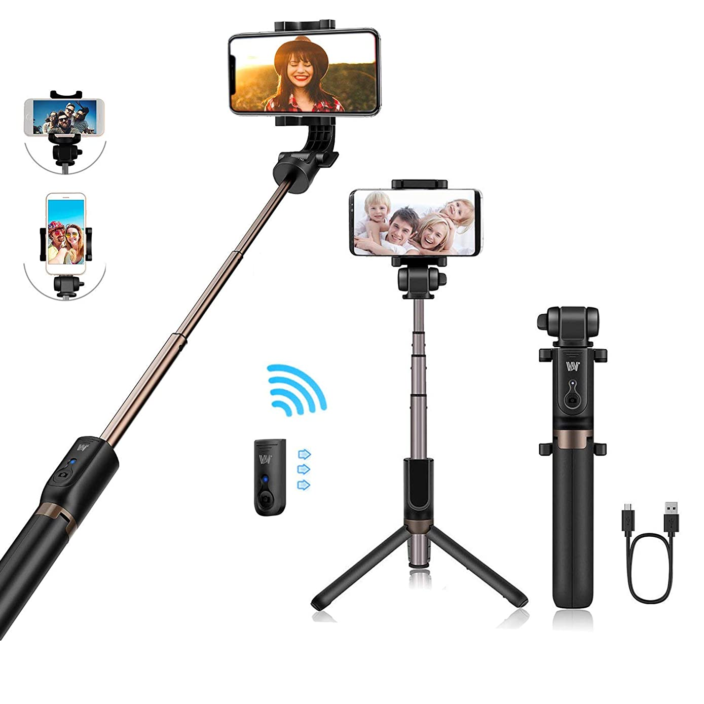 TRONOE Selfie Stick Bluetooth, 2 in 1 Extendable Monopod Selfie Stick with Bluetooth Detachable Remote,Adjustable Head,Selfie Stick Tripod Compatible iPhone/Huawei/Samsung with Charging Cable (Black)