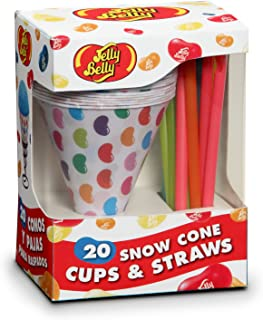 Jelly Belly JB15928 Disposable Snow Cone Cups and Straws Set of 20, Multicolored