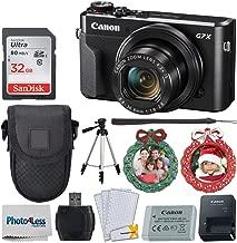 "Canon PowerShot G7 X Mark II Digital Camera (Black) + Point & Shoot Case + 32GB Memory Card + 60"" Tripod + 2X Wreath Photo Ornament + Card Reader + Screen Protectors + Cleaning Cloth – Holiday Bundle"