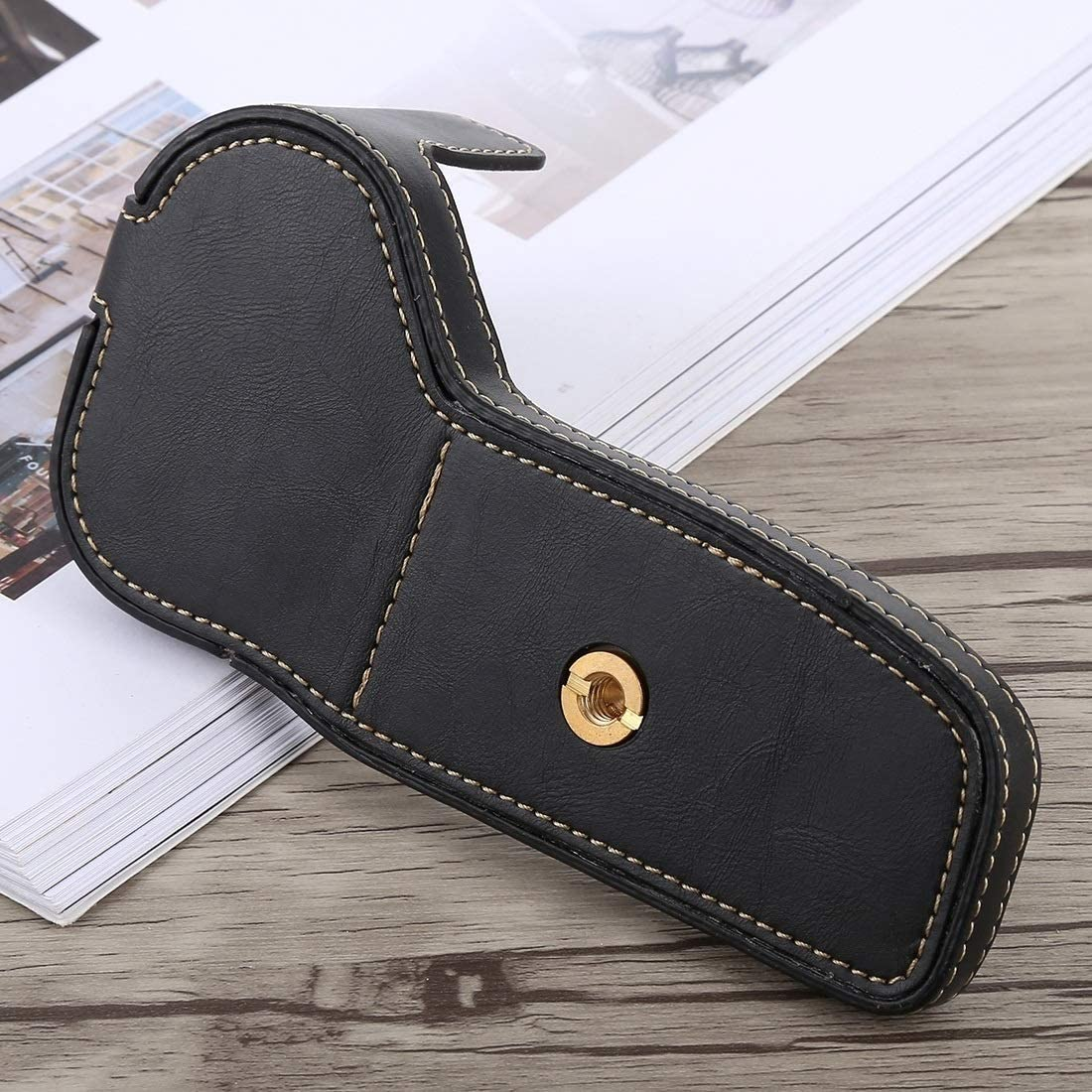 Black SHUFEIVICC 1//4 inch Thread PU Leather Camera Half Case Base for Canon EOS 6D 6D Mark II Color : Black