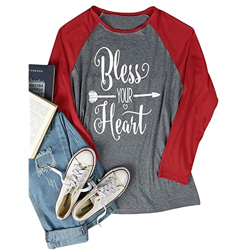 79b59b3d431 Women s Plus Size 3 4 Sleeve Bless Your Heart Letter Printed O-Neck Loose
