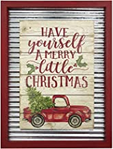 OUCHAN Christmas Galvanized Corrugated Distressed Frame Red Truck Wall Art Sign Plaque(Have Yourself A Merry Little Christmas)