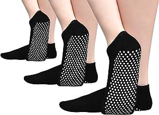 Non Skid Grip Women Socks for Pilates Barre Yoga Anti Slip Sticky House Floor Socks for Home Hospital Athletic 3 Or 1 Pack