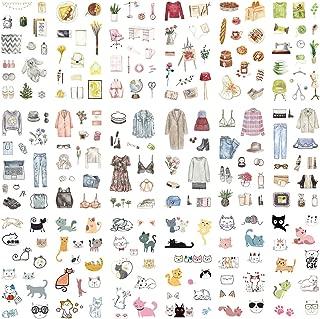 Stationery Sticker Set (Assorted 18 Sheets) Warm Home Household Display Food Fashion Clothes Dress Makeup Stuff Kawaii Cat Stationery Sticker Diary Album Scrapbooking DIY Craft Handmade Decor Label