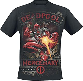 Deadpool Mercenary Hombre Camiseta Negro, Regular