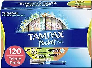 Tampax Pocket Pearl Plastic Tampons, Regular/Super/Super Plus Absorbency Triplepack, Unscented 30 Count, (Pack of 4 - 120 ...