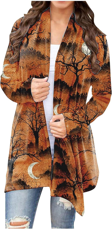 Toeava Women's Open Front Cardigan Shirt Halloween Bat Graphic Long Sleeve Sweatshirt Sweater Coat Kimono for Women