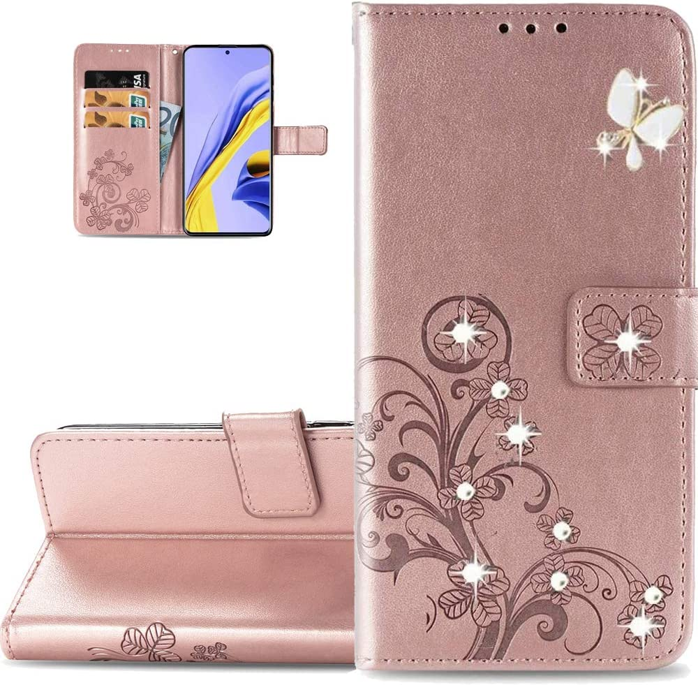 LEMAXELERS Galaxy Z Fold 2 5G Case Bling Diamond Clover Wallet Case with Card Slots Magnetic Flip Stand Premium PU Leather Shockproof Cover for Samsung Galaxy Z Fold 2 5G Diamond Clover Rose Gold SD