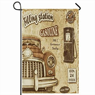 Ahawoso Outdoor Garden Flag 12x18 Inches Abstract Automotive Filling Station Retro Gas Vintage Aged Design Label Seasonal Double Sided Home Decorative House Yard Sign
