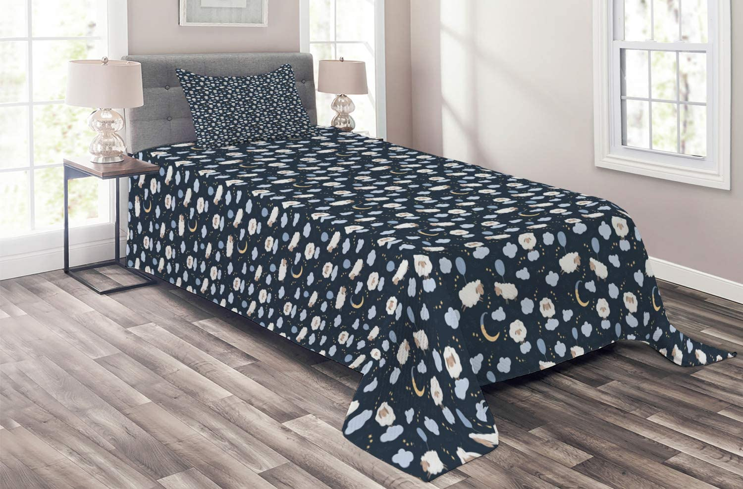 Ambesonne Nursery Coverlet Sheep in The Moo Free shipping Max 89% OFF New Clouds Hovering Sky
