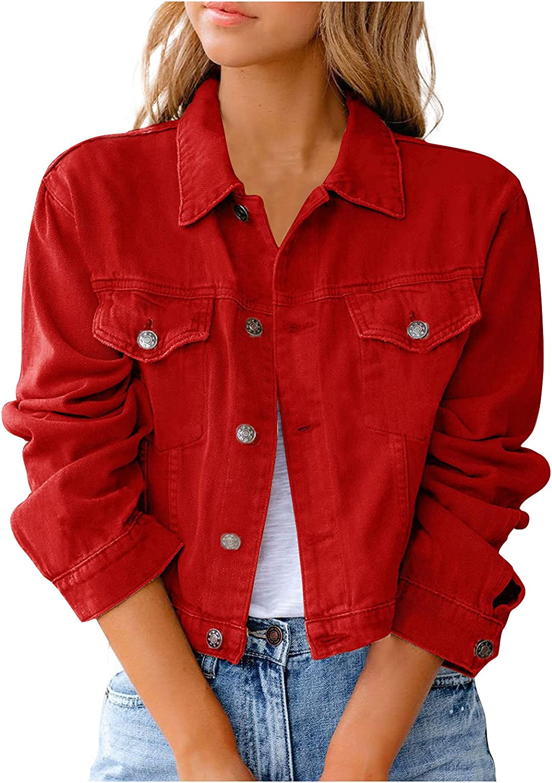 PEGONE Fashion Women'S Solid Color Denim Jacket Jacket Button Casual Denim Clothes