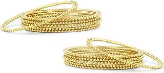 مجموعة مكونة من 12 أساور مطلية بالذهب ولامعة للنساء من سوخى (B71420GLDPKR300_2.4).