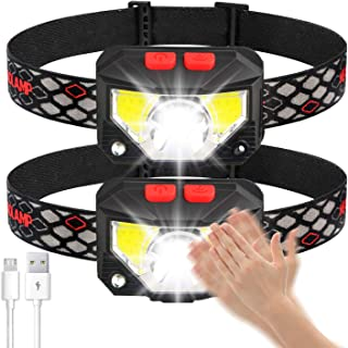 Soft Digits Headlamp Flashlight, 1100 Lumens USB Rechargeable Headlight, 8 Modes Work Light, Waterproof Head Lights with M...