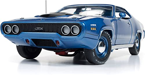 1971 Plymouth GTX Hardtop Blau Metallic Limited Edition to 1002pcs 1 18 by Autoworld AMM1065 by Plymouth