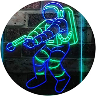 Astronaut Space Rocket Shuttle Kid Room Dual Color LED Neon Sign Green & Blue 300 x 400mm st6s34-i3136-gb