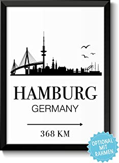 Hamburg Koordinaten Holzbild 15x15 zum hinstellen oder aufh/ängen als Geschenke oder Geschenkidee zum Einzug Einweihung Wand-Deko B/üro Wand-Bild