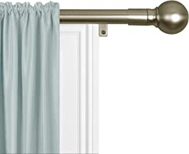 """MAYTEX Smart Rods No Measuring Easy Install 1"""" Window Drapery Curtain Rod with Ball Finial, 18 inch - 48 inch, Antique Brass"""
