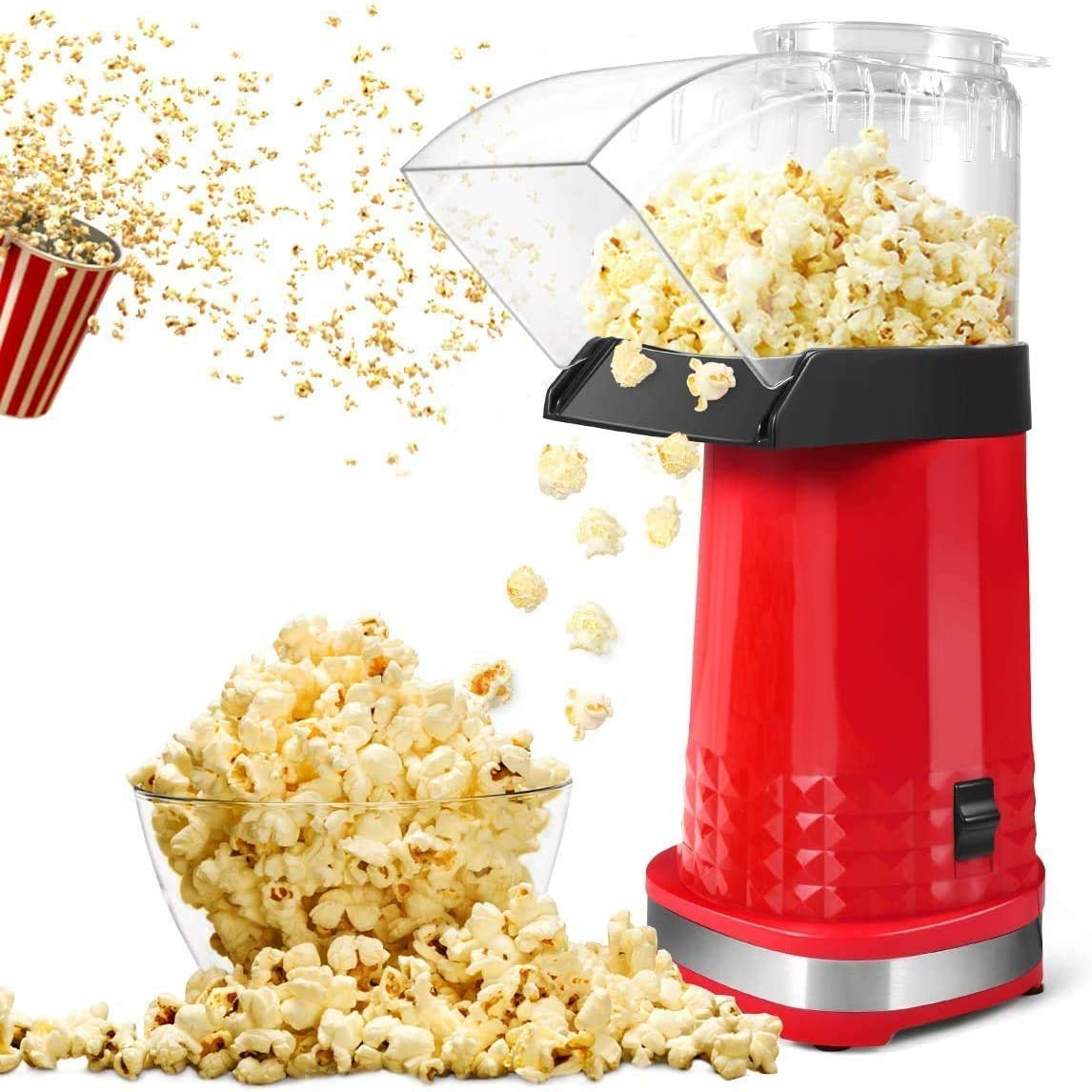 YiimDaifun Popcorn Maker, Home Electric Air Popcorn Maker Machine with ETL Certified, BPA Free, No Oil, DIY Flavors, Popcorn Popper for Home Movie/Party