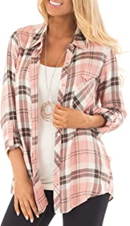 Womens Casual Cuffed 3 4 Long Sleeve Plaid Button Down Shirts Blouse Tops