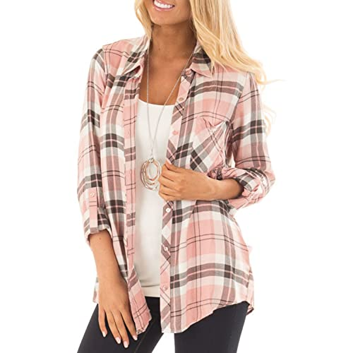 4de83cad4cd Jug Po Womens Casual Cuffed 3 4 Long Sleeve Plaid Button Down Shirts Blouse  Tops