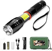 Linterna LED Recargable 3500mAh, LinternaTactica Impermeable IPX-6 con 5 Modos Super Brillante 800LM 6000K Zoom Ajustable...
