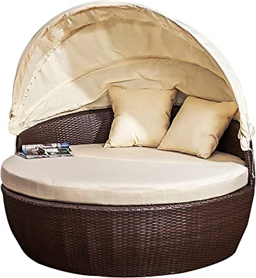 Outdoor Leisure Balcony Sofa Bed, Beach Hotel Bed, Lazy Lounge Chair, Furniture Indoor and Outdoor Rattan Round Bed with Canopy, with Cushion and Sunshade,160cm