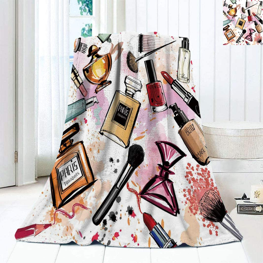 Cosmetic and Make Up Theme Perf Blanket Pattern excellence Max 61% OFF Lightweight with