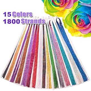 Hair Tinsel,12 Colors 1440 Strands - Hair Tinsel Glitter Hair Extensions Sparkling Tinsel Hair Extensions Colored Party Highlights Glitter Hair Bling Strands for Party Hair