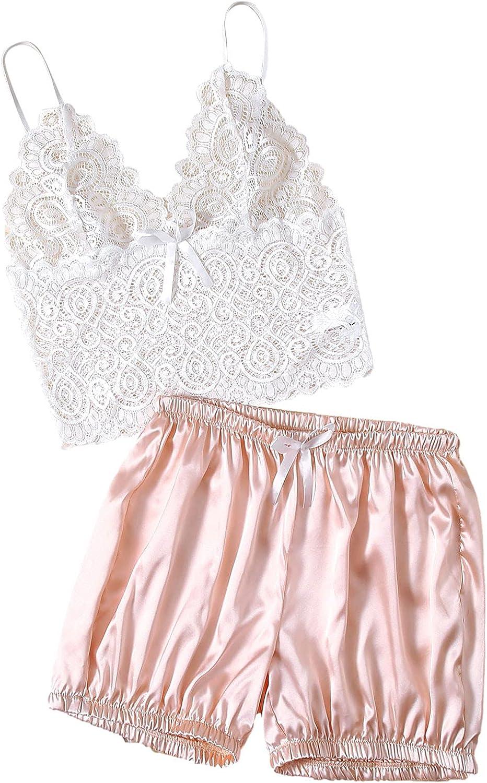 Womens Pajamas Set Lingerie Corset Shorts Suit Lace Satin Muslin Sleepwear Underwear Crop Tops+Briefs
