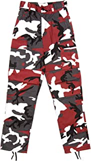 Red Camouflage Military BDU Pants Cargo Fatigues Fashion Trouser Camo Bottoms