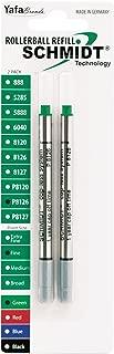 Schmidt P8126 Short Capless Rollerball Refill Fine Point 0.6mm, Green, 2 Pack Blister (SC58122)