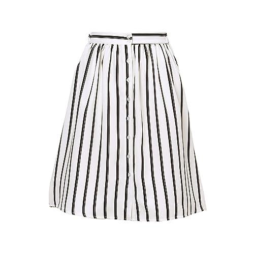 0d520b9fecbc Allegra K Women's Striped Button Front Elastic Back Waist A Line Midi Skirt