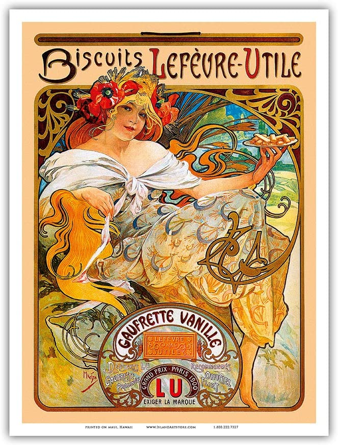 Art Nouveau Print Mucha Biscuits Lefeure-Util 6 sizes, matte + glossy avail
