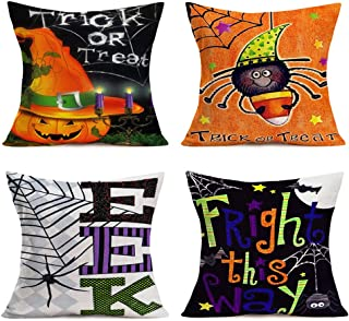 Hopyeer Happy Halloween Decor Throw Pillow Covers Trick or Treat Witch Pumpkin Cute Spider Funny Words Bats SpiderWeb Pillowcase Cotton Linen Sofa Chair Cushion Cover 18
