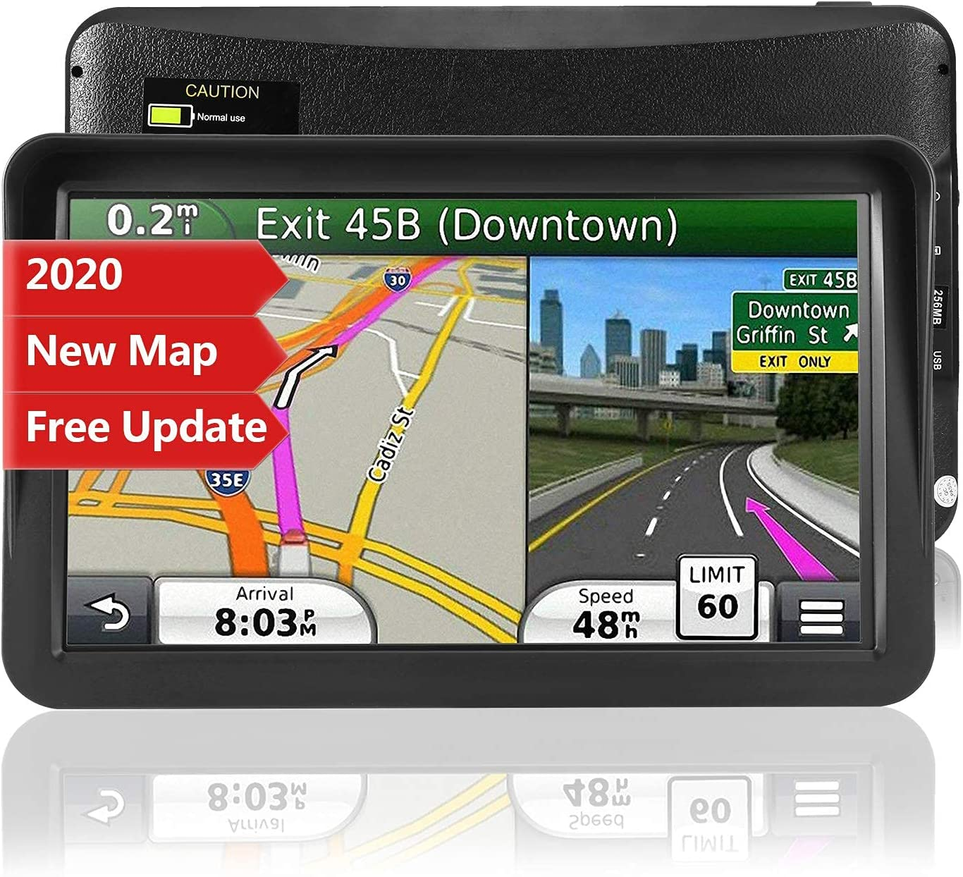 Car GPS Navigation, 9-inch HD Touch Screen Navigation Device Truck 8GB 256MB Navigation with POI High Speed Camera Warning Voice Guide Lane Lifetime Free Map Update (Renewed)