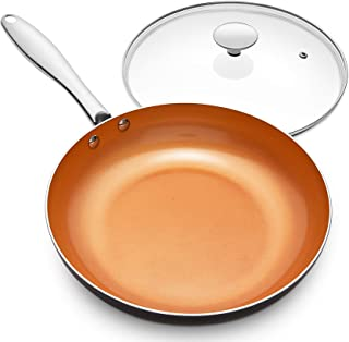 MICHELANGELO Frying Pan with Lid, Nonstick 8 Inch Frying Pan with Ceramic Titanium Coating, Copper Frying Pan with Lid, Sm...