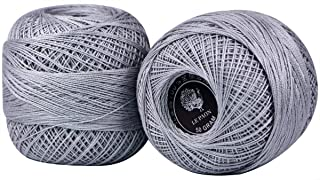LE PAON 50g Pearl Cotton Size 8 Crochet Yarn Total 1000yards Light Grey Knitting Yarn DIY Cotton Lace Thread for Crochet Hardanger Cross Stitch Knitting 2 Balls (Color No.:648)